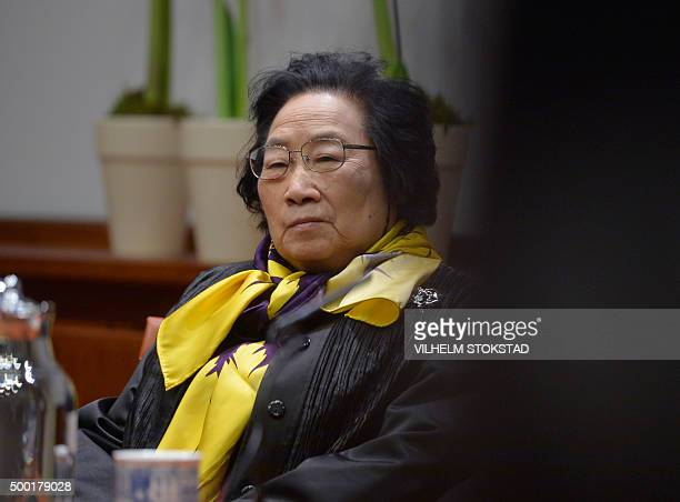 Chinese Tu Youyou a coLaureate in the 2015 Nobel Prize in Physiology or Medicine attends a press conference at Nobel Forum Karolisnka institutet in...