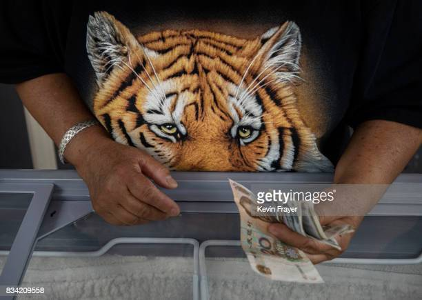 A Chinese vendor wears a shirt as she sells ice cream at the Heilongjiang Siberian Tiger Park on August 16 2017 in Harbin northern China The center...