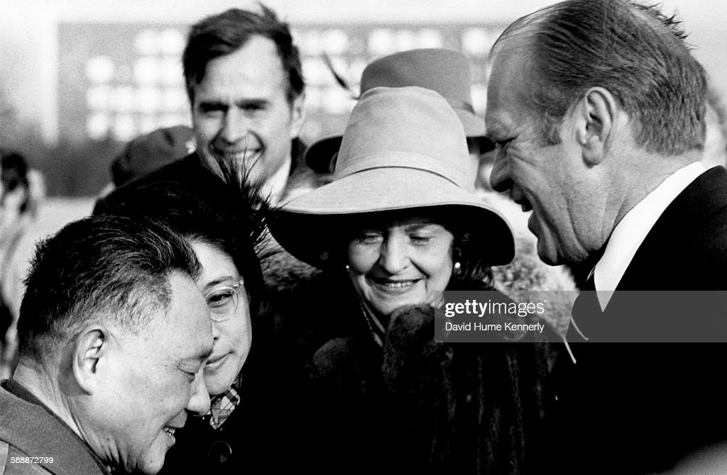 Chinese Vice Premier Deng Xiaoping US Representative to China George HW Bush First Lady Betty Ford and President Gerald Ford during the Ford's visit...