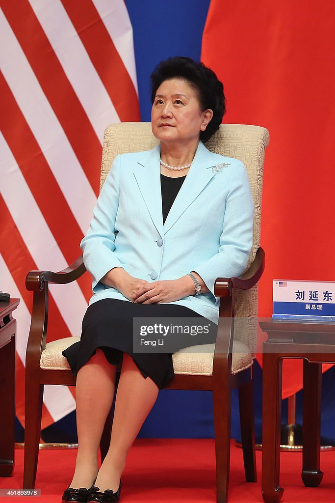 Chinese Vice Premier <a gi-track='captionPersonalityLinkClicked' href=/galleries/search?phrase=Liu+Yandong&family=editorial&specificpeople=4375362 ng-click='$event.stopPropagation()'>Liu Yandong</a> attends the opening ceremony of the 6th China-U.S. Security and Economic Dialogue and 5th round of China-U.S. High Level Consultation on People-to-People Exchange at Diaoyutai State Guest House on July 9, 2014 in Beijing, China.