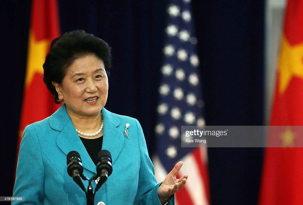 Chinese Vice Premier <a gi-track='captionPersonalityLinkClicked' href=/galleries/search?phrase=Liu+Yandong&family=editorial&specificpeople=4375362 ng-click='$event.stopPropagation()'>Liu Yandong</a> delivers remarks during the joint opening session of the Strategic and Economic Dialogue (S&ED), and Consultation on People-to-People Exchange (CPE) June 23, 2015 at the State Department in Washington, DC. Officials from both countries participated in the seventh annual U.S. Ð China Strategic and Economic Dialogue to discuss bilateral issues.