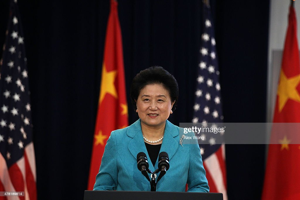 Chinese Vice Premier <a gi-track='captionPersonalityLinkClicked' href=/galleries/search?phrase=Liu+Yandong&family=editorial&specificpeople=4375362 ng-click='$event.stopPropagation()'>Liu Yandong</a> delivers remarks during the joint opening session of the Strategic and Economic Dialogue (S&ED), and Consultation on People-to-People Exchange (CPE) June 23, 2015 at the State Department in Washington, DC. Officials from both countries participated in the seventh annual U.S. China Strategic and Economic Dialogue to discuss bilateral issues.