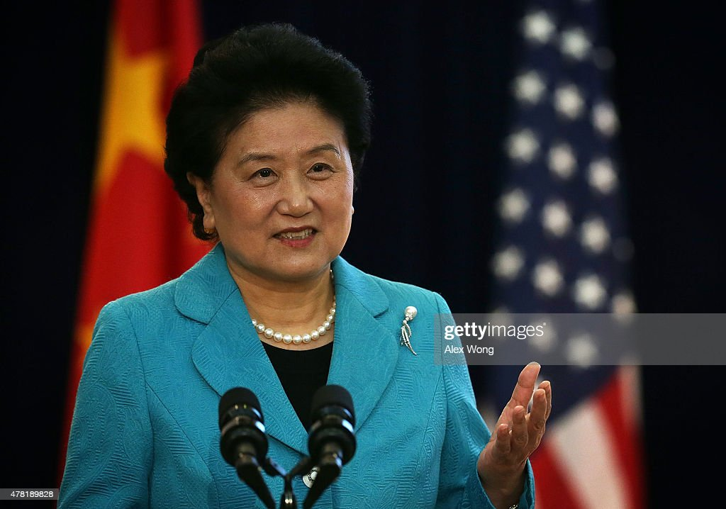 Chinese Vice Premier Liu Yandong delivers remarks during the joint opening session of the Strategic and Economic Dialogue (S&ED), and Consultation on People-to-People Exchange (CPE) June 23, 2015 at the State Department in Washington, DC. Officials from both countries participated in the seventh annual U.S. China Strategic and Economic Dialogue to discuss bilateral issues.