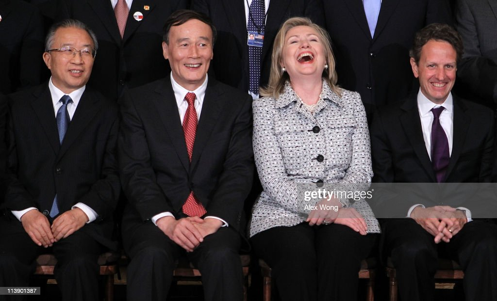 Chinese Vice Premier Wang Qishan Chinese State Councilor Dai Bingguo US Secretary Hillary Clinton and Secretary of the Treasury Timothy Geithner...