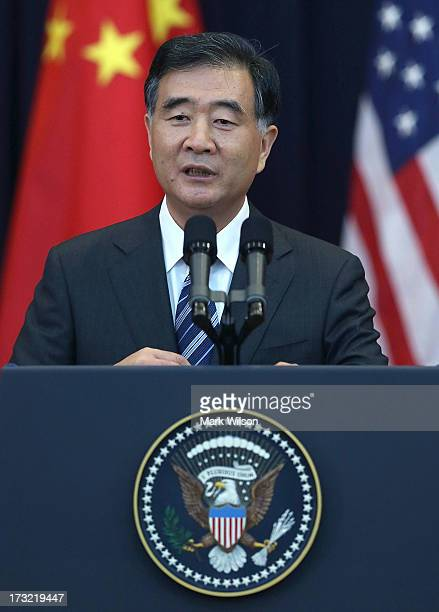 Chinese Vice Premier Wang Qishan speaks during the opening session of the US and China Strategic and Economic Dialogue at the US Department of State...