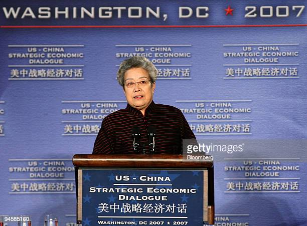 Chinese Vice Premier Wu Yi makes remarks during the second meeting of the Strategic Economic Dialogue in Washington DC Tuesday May 22 2007 The...