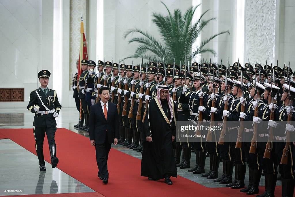 Chinese Vice President Li Yuanchao (L) invites Saudi Crown Prince Salman bin Abdulaziz (R) to view an honour guard during a welcoming ceremony inside the Great Hall of the People on March 13, 2014 in Beijing, China. Saudi Crown Prince Salman bin Abdulaziz will pay a four-day state visit to China from March 13 to 16.