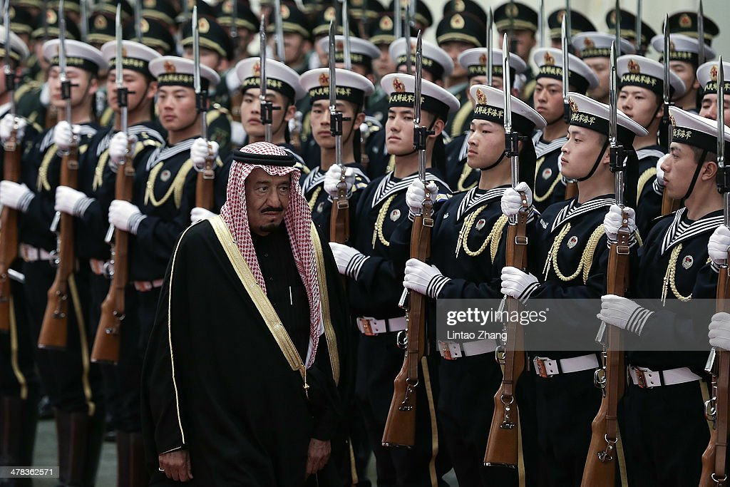 Chinese Vice President Li Yuanchao invites Saudi Crown Prince Salman bin Abdulaziz to view an honour guard during a welcoming ceremony inside the Great Hall of the People on March 13, 2014 in Beijing, China. Saudi Crown Prince Salman bin Abdulaziz will pay a four-day state visit to China from March 13 to 16.