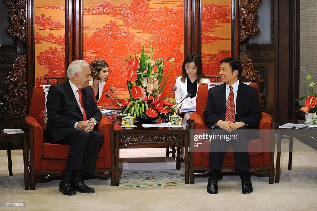 Chinese Vice President Li Yuanchao (R) meets with Spain's Foreign Minister Jose Manuel Garcia-Margallo (L) at Zhongnanhai government compound in Beijing on June 25, 2013. Garcia-Magallo is on a visit to China from June 25 to 26.