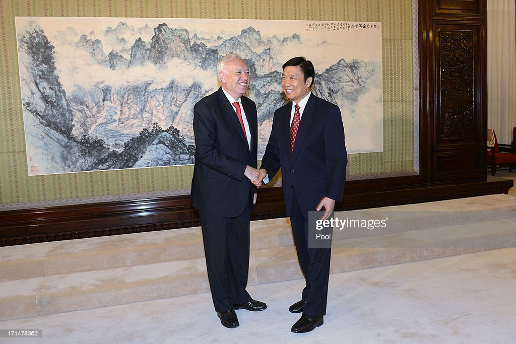 Chinese Vice President Li Yuanchao (R) meets with Spain's Foreign Minister Jose Manuel Garcia-Margallo (L) at Zhongnanhai government compound in Beijing on June 25, 2013 in Beijing, China. Spain's Foreign Minister, Garcia-Margallo is on a two day trip to China.
