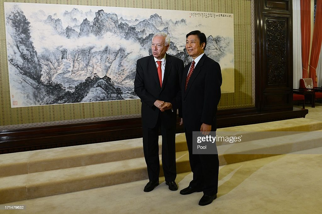 Chinese Vice President Li Yuanchao (R) meets with Spain's Foreign Minister, Jose Manuel Garcia-Margallo (L) at Zhongnanhai government compound in Beijing on June 25, 2013 in Beijing, China. Spain's Foreign Minister, Garcia-Margallo is on a two day trip to China.
