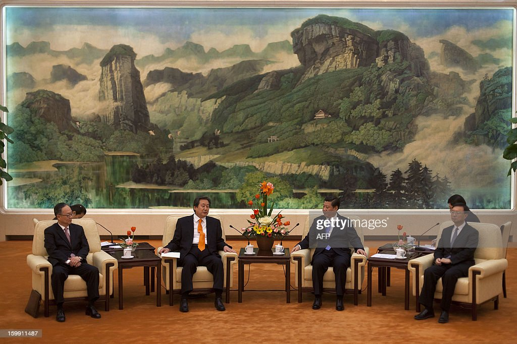 Chinese Vice President Xi Jinping (2nd-R) talks with Kim Moo-sung (2nd-L), special envoy sent by South Korean President-elect Park Geun-hye, during their meeting at the Great Hall of the People in Beijing on January 23, 2013.