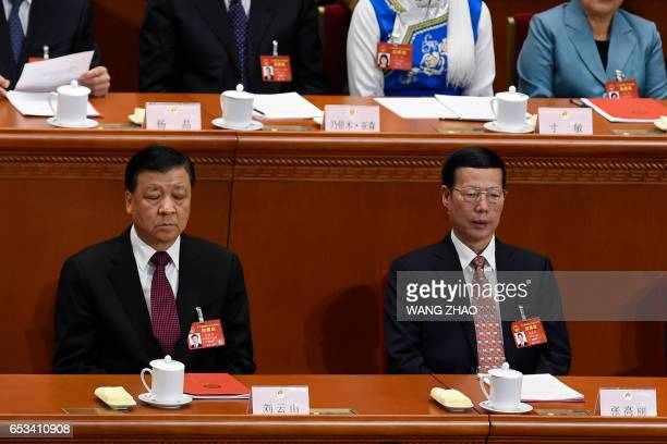 Chinese VicePremier Zhang Gaoli and Liu Yunshan member of the Standing Committee of the Political Bureau of the Communist Party of China Central...