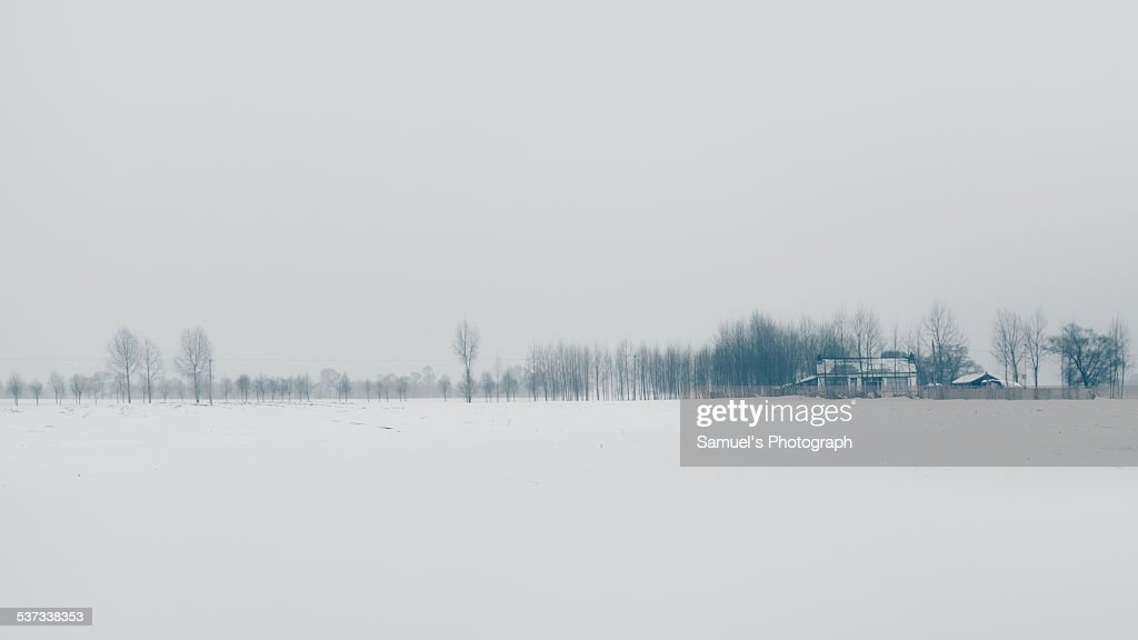 Chinese village on snowfield