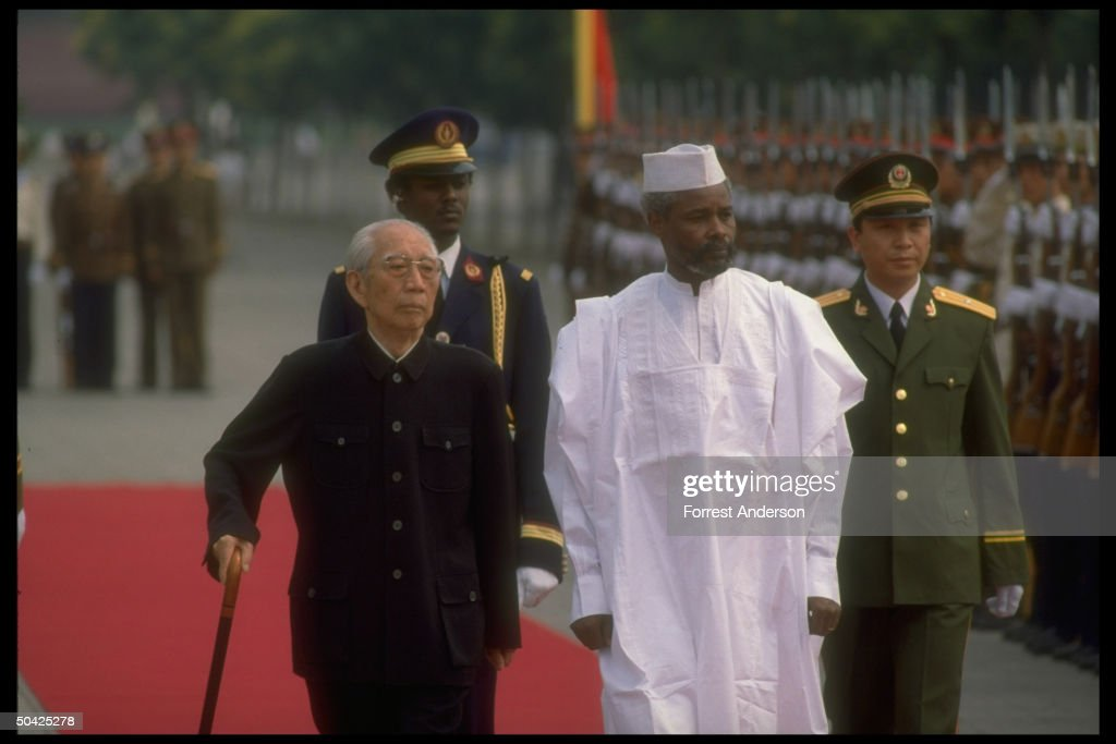 Chinese VP Wang Zhen (R) w. Pres. <a gi-track='captionPersonalityLinkClicked' href=/galleries/search?phrase=Hissene+Habre&family=editorial&specificpeople=1043137 ng-click='$event.stopPropagation()'>Hissene Habre</a> of Chad at welcoming ceremony.