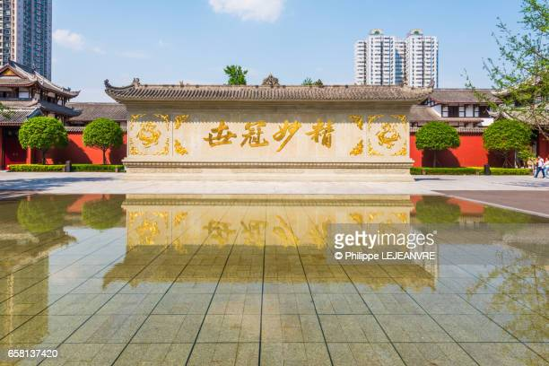 Chinese wall reflecting in water in Chengdu
