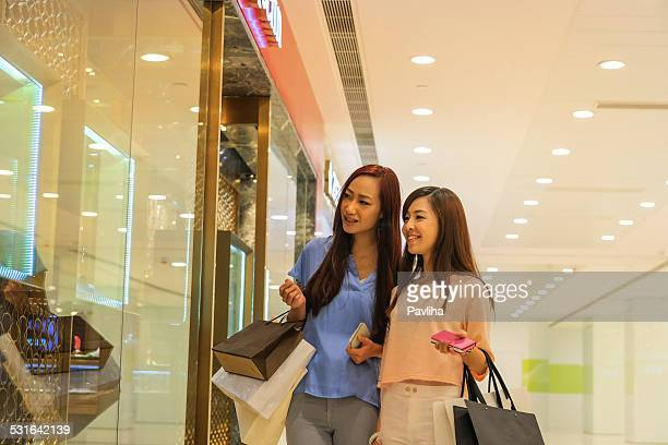 Chinese Women Shopping in Kowloon Luxury Mall, Hong Kong, Asia