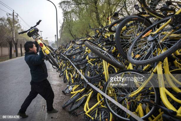 Chinese worker from bike share company Ofo Inc throws a bicycle on top of others where thousands of damaged bicycles pulled off the streets are kept...