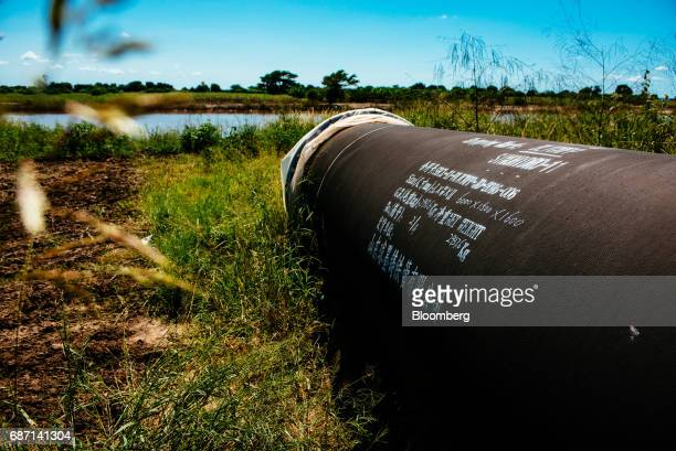 Chinese writing sits on a pipe at the construction site for a hydro pumping station which will supply water from the Limpopo river to nearby rice...