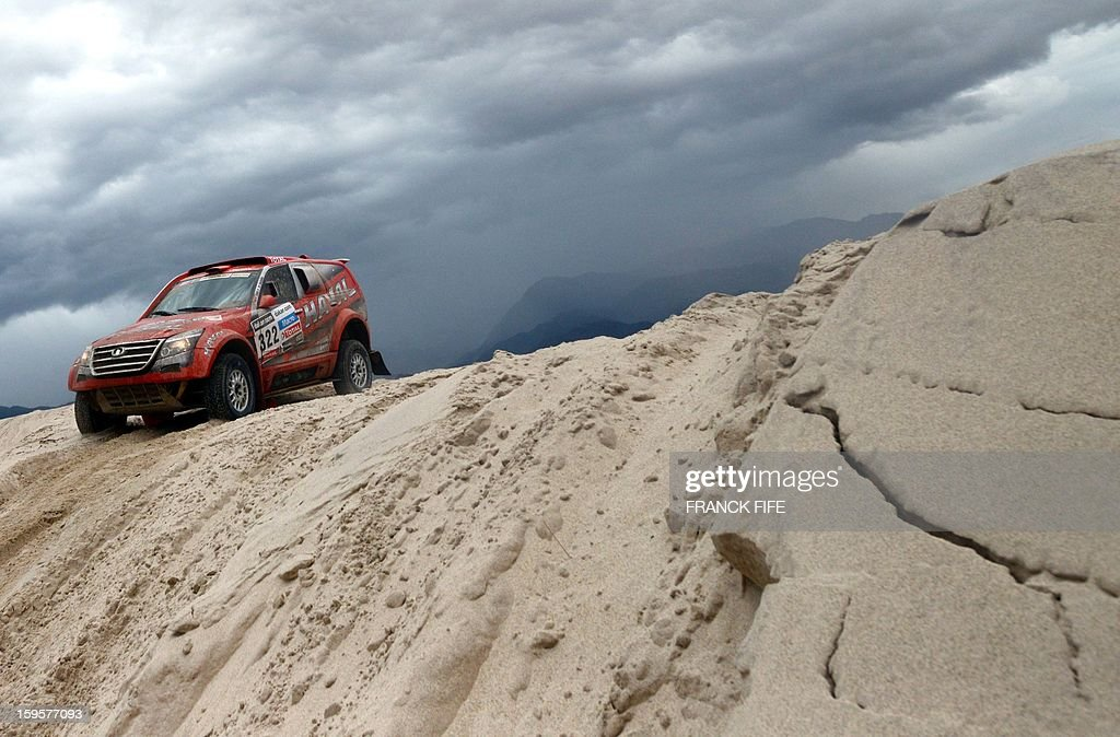 Chinese Yong Zhou competes on his Great Wall during the Stage 11 of the Dakar 2013 between La Rioja and Fiambala, Argentina, on January 16, 2013. The rally takes place in Peru, Argentina and Chile between January 5 and 20.