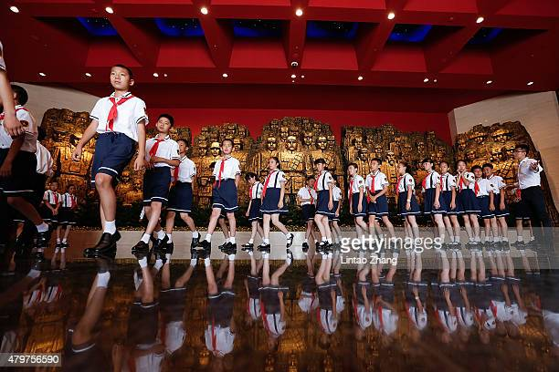 Chinese Young children visit Museum of the War of Chinese People's Resistance Against Japanese Aggression commemorating the World War II victory over...