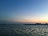 Chinese ziyingdian lake in wuxi city, jiangsu province scenery before dusk