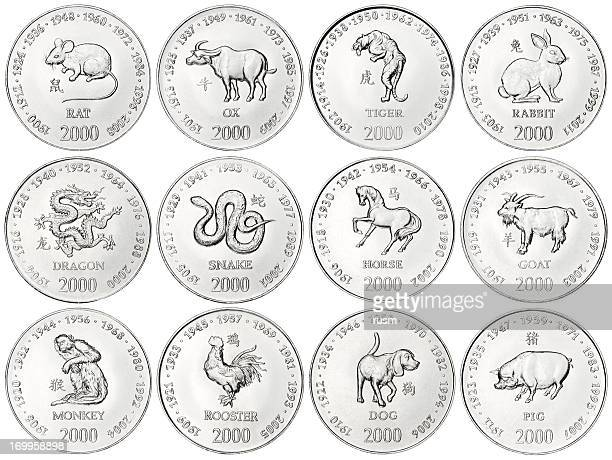 Chinese Zodiac coins on white background