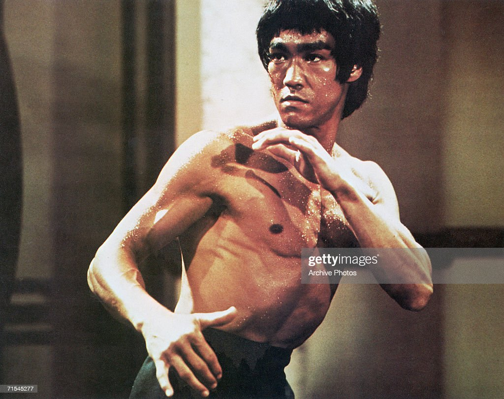 Chinese-American martial arts exponent Bruce Lee (1940 - 1973), in a karate stance, early 1970s.