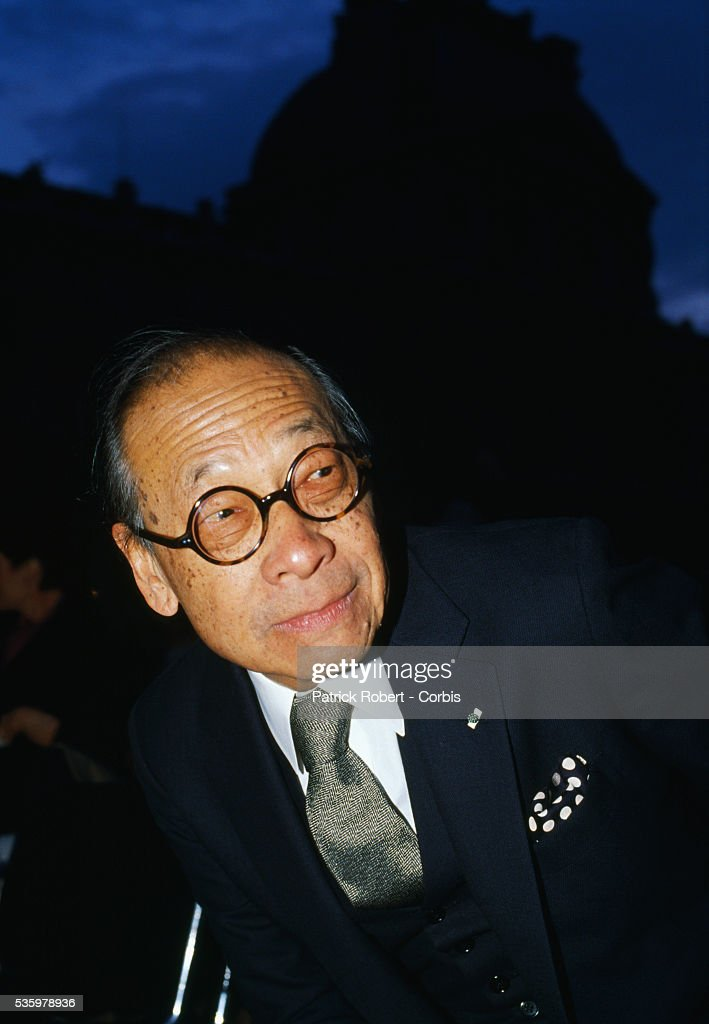 Chinese-born American architect, Ieoh Ming Pei during a visit to Paris. Pei designed the Pyramid entrance to the Louvre Museum in the mid 1980s. Other works by the architect include the Javits Center in New York and the East Wing of the National Gallery in Washington.