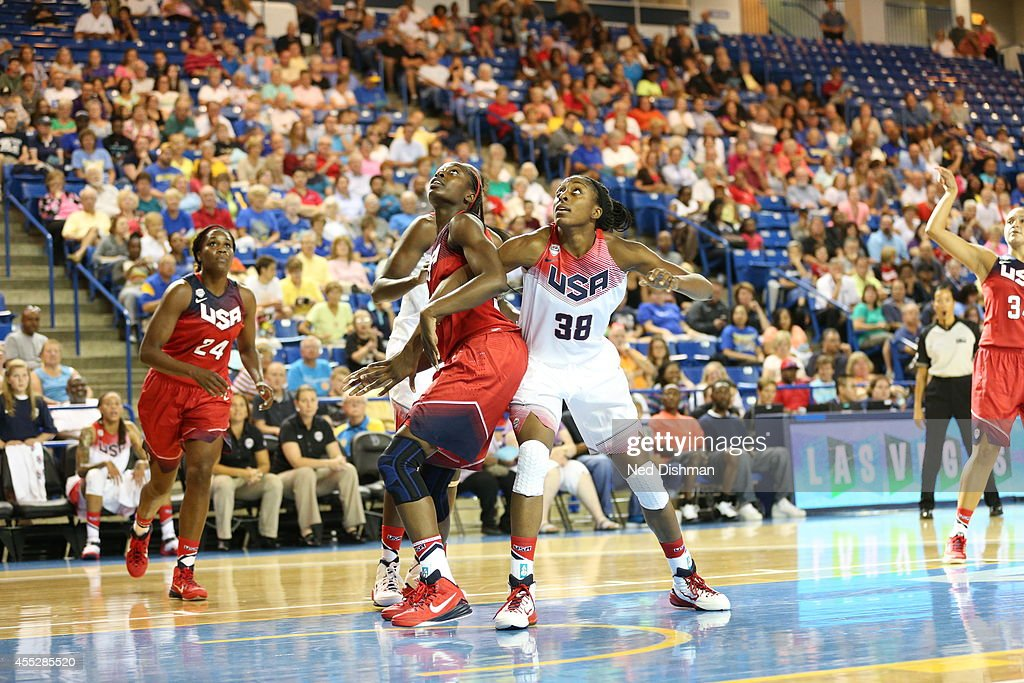 Chiney Ogwumike and Nnemkadi Ogwumike look for a rebound during the Women's Senior US National Team Red vs White game on September 11 2014 in Newark...