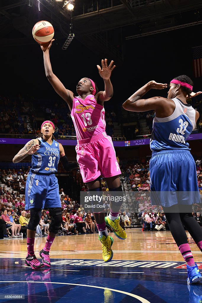 <a gi-track='captionPersonalityLinkClicked' href=/galleries/search?phrase=Chiney+Ogwumike&family=editorial&specificpeople=6866662 ng-click='$event.stopPropagation()'>Chiney Ogwumike</a> #13 of the Connecticut Sun shoots against the Minnesota Lynx on July 27, 2014 at the Mohegan Sun Arena in Uncasville, Connecticut.