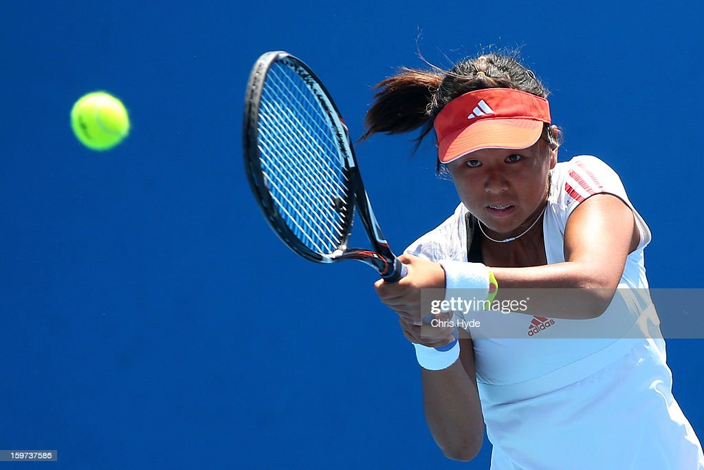 Ching-Wen Hsu of Chinese Taipei plays a shot in her first round match against Belinda Woolcock of Australia during the 2013 Australian Open Junior Championships at Melbourne Park on January 20, 2013 in Melbourne, Australia.