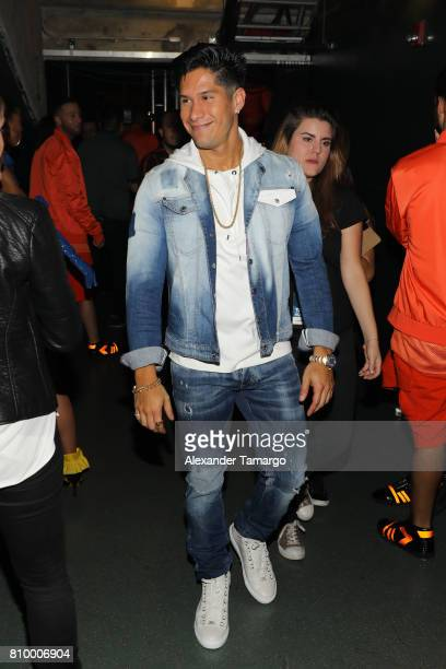 Chino is seen backstage during Univision's 'Premios Juventud' 2017 Celebrates The Hottest Musical Artists And Young Latinos ChangeMakers at Watsco...