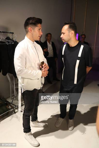 Chino Miranda and Carlos Campos attend the Carlos Campos NYFW Men's July 2017 at Skylight Clarkson Sq on July 11 2017 in New York City