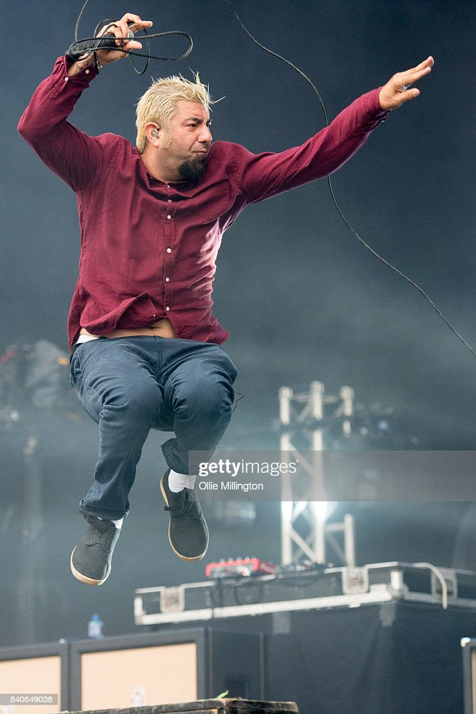 Chino Moreno of Deftones performs onstage on Day 2 of Download Festival 2016 at Donnington Park on June 11 2016 in Donnington England