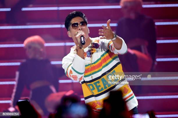 Chino perfoms on stage during Univision's 'Premios Juventud' 2017 Celebrates The Hottest Musical Artists And Young Latinos ChangeMakers at Watsco...