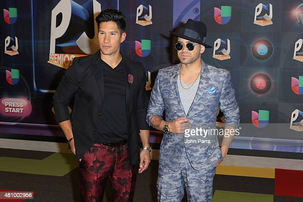 Chino y Nacho attend Univision's Premios Juventud 2015 at Bank United Center on July 16 2015 in Miami Florida