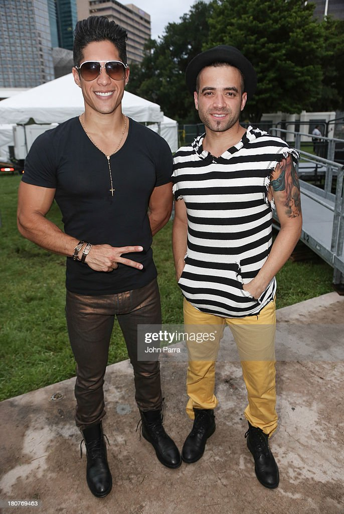 Chino Y Nacho backstage at the Zolazo concert at Bayfront Park Amphitheater on September 15, 2013 in Miami, Florida.