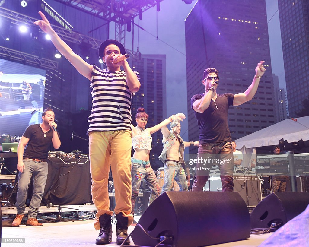 Chino Y Nacho perform at the Zolazo concert at Bayfront Park Amphitheater on September 15, 2013 in Miami, Florida.