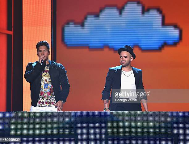 Chino Y Nacho perform onstage at Univision's Premios Juventud 2015 at Bank United Center on July 16 2015 in Miami Florida