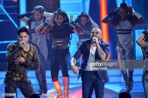 Chino Y Nacho perform onstage during Univision's 28th Edition of Premio Lo Nuestro A La Musica Latina on February 18 2016 in Miami Florida