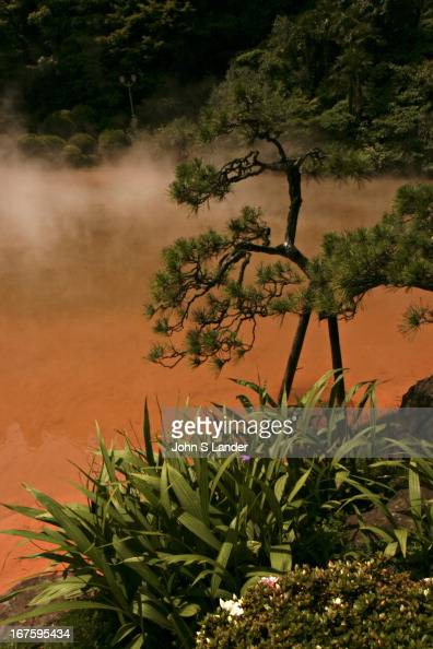 Chinoike Jigoku Blood Pond Hell Onsen of natural red color Beppu Japan