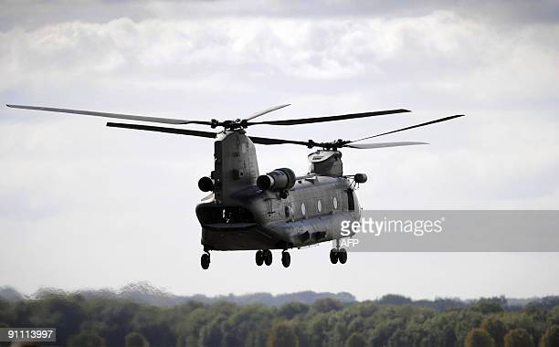 A Chinook helicopter takes off from RAF Odiham in Hampshire on September 24 2009 Media were invited for a briefing to mark the award of two contracts...
