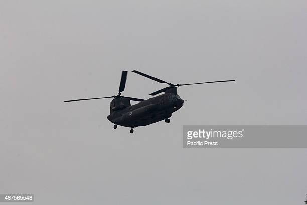 Chinook military helicopter flies above the crowd during the parade The anniversary of Greece's liberation from Turkish occupation in 25th March 1821...