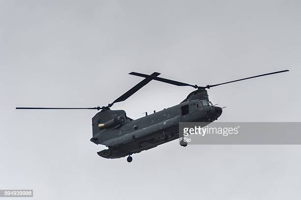 Chinook military transport helicopter in flight