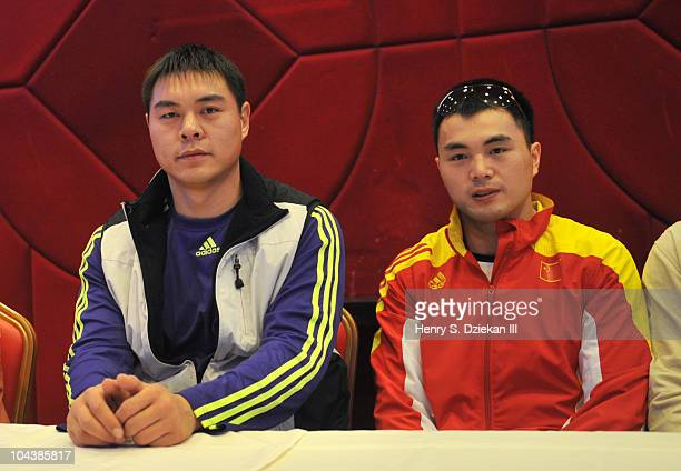 Chinses Super Heavyweight Boxer Zhang Zhilei and Chinese Super MIddleweight Boxer Zhang Jianting attend the 'Empires Collide' boxing press conference...