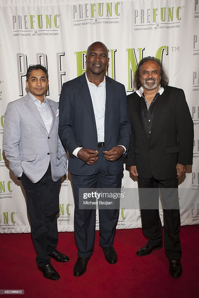 Chintan Gandhi, <a gi-track='captionPersonalityLinkClicked' href=/galleries/search?phrase=Evander+Holyfield&family=editorial&specificpeople=194938 ng-click='$event.stopPropagation()'>Evander Holyfield</a> and Raj attend PREFUNC At The Celebrity Sweat VIP Party at The Palm on July 16, 2014 in Los Angeles, California.