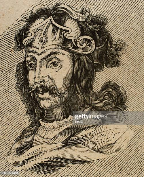 Chintila Visigothic King of Hispania Septimania and Galicia from 636 Portrait Engraving