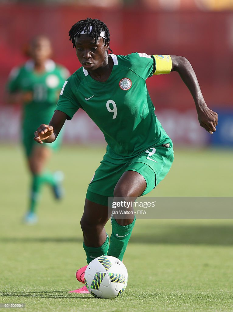 Chinwendu Veronica Ihezuo of Nigeria in action during the FIFA U-20 Women's World Cup, Group B match between Nigeria and Spain at PNG Football Stadium on November 20, 2016 in Port Moresby, Papua New Guinea.