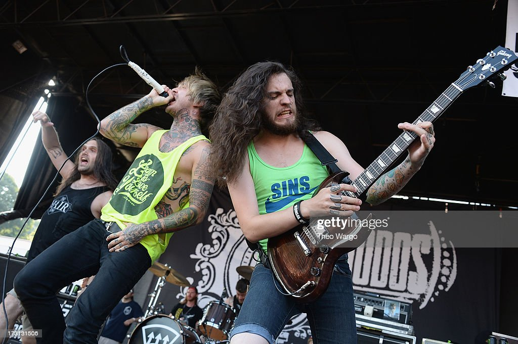 Chiodos perform during Warped Tour 2013 at PNC Bank Arts Center on July 7, 2013 in Holmdel, New Jersey.